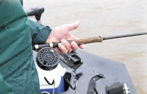 Using high-visibility line lets anglers see the bite, which may not be as aggressive this time of year.
