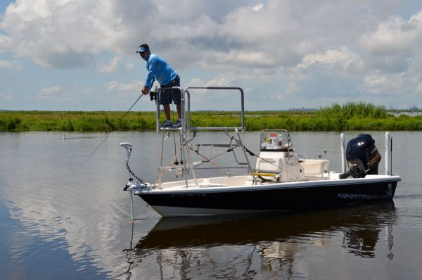 Stevie Nick's tournament boat is rigged with an elevated casting platform, twin shallow water anchors and a remotely controlled trolling motor.