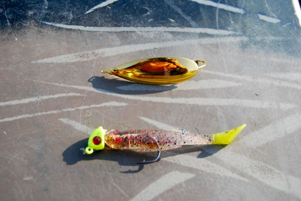 """Marcel fishes strictly with artificial baits for the """"Before-Work Redfish Challenge,"""" and two of his favorites are a gold spoon (top) and the Bayou Chub Cajun pepper shown on a Rockport Rattler jighead."""