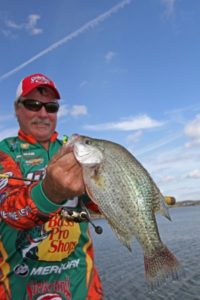 Toledo Bend crappie guide Dennis Tietje is adamant about keeping his baits near channel edges this time of year.