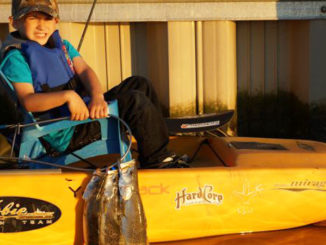 Five-year-old Caleb Kellum managed to catch a few nice specks while riding in the back of his dad's kayak. Trolling is a great way to get young children involved in fishing.