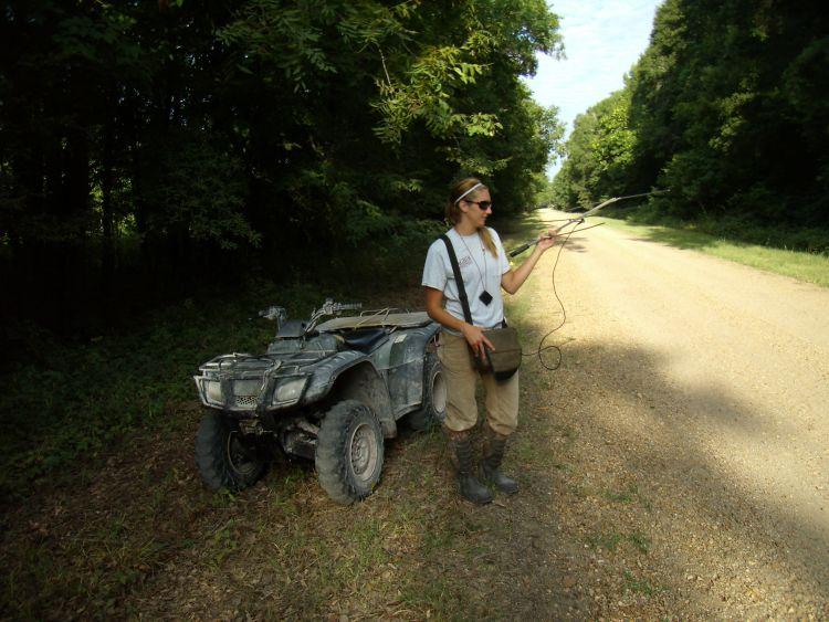 Elizabeth Cooney gathers fawn locations on Tensas National Wildlife Refuge through radio telemetry.