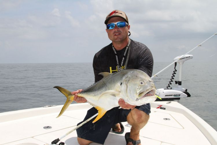 Jack crevalle frequent rigs in slightly deeper water.