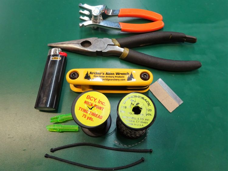 A kit with the tools necessary to affect field repairs should be in every archer's backpack.