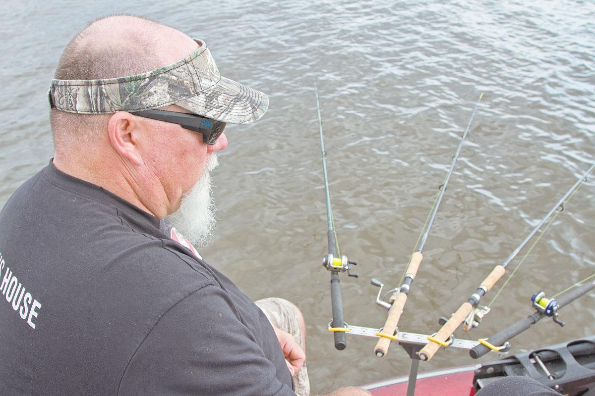 Duck Commander's John Godwin works a spider rig for suspended fish on Lake D'Arbonne.