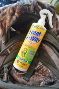 As temperatures climb into the 90s in September, you'll sweat on the trek to your stand. Be sure to keep scent control spray in your pack to spray down in the woods.