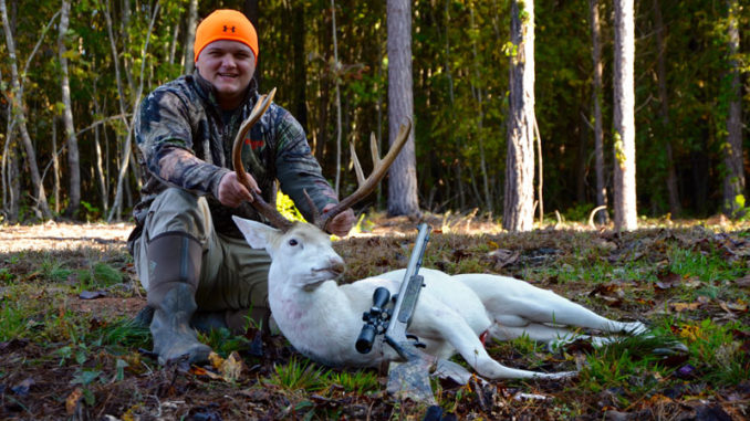 This 11-point albino buck was downed in North Carolina by Alec White.