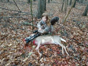 While hunting Avoyelles Parish with her crossbow, 11-year-old Raelyn Crain put some meat in the family freezer.