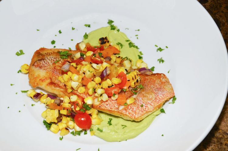 Everything in Red Snapper with Roasted Corn Relish is great, but the avocado mousse is so good you'll want to bathe in it. Once you taste it, you will want to use it elsewhere.
