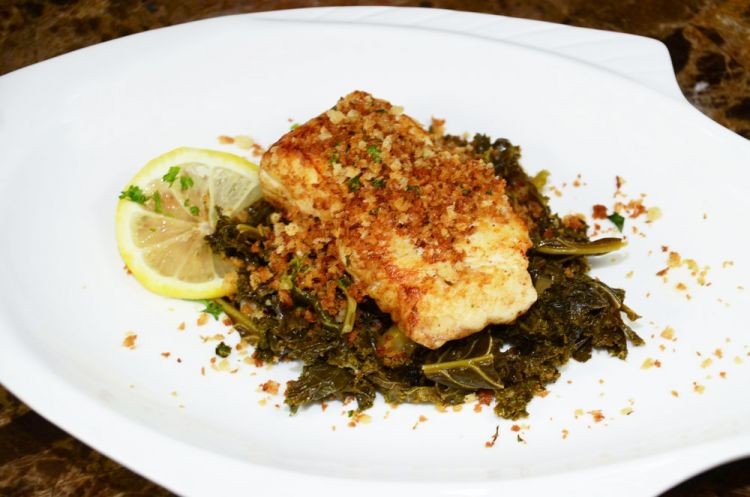 The seared panko grouper on kale has an exciting and unique flavor profile.