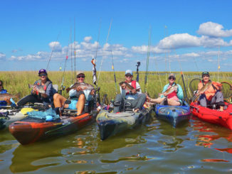 The Salty Chicks gathered for a group photo after a successful mothership trip to the marsh in Point Aux Chenes.
