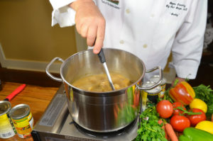 Allowing time to simmer the gumbo before adding the seafood is the secret to developing the full taste of the dish.
