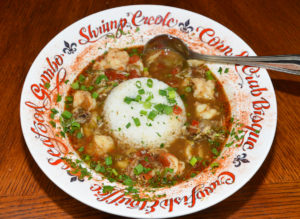 Down Da Bayou Gumbo has a unique taste that comes from peppered vinegar, while retaining its credentials as a real Cajun gumbo.