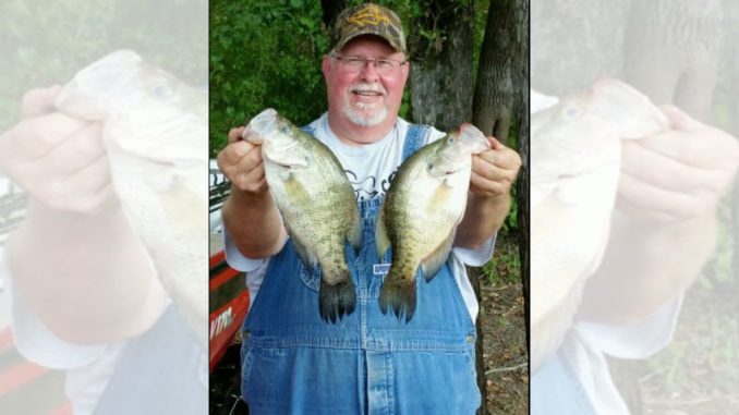 Warren Maxwell with two nice Grand Bayou winter crappie.