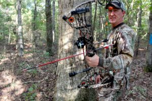 There is a lot of good archery equipment on the market, but Simpson uses only what he knows works for him — a Mathews Heli-M bow, Maxima Red Carbon Express arrows and Rage Chisel Tips.