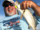 Capt. Mike Gallo targets specks in deeper spots when water temps hit about 55 degrees.