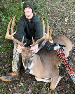 Zach Jones arrowed this giant Ashbrook Island buck from 30 yards on Nov. 10. The 11-point green-scored north of 164 inches.