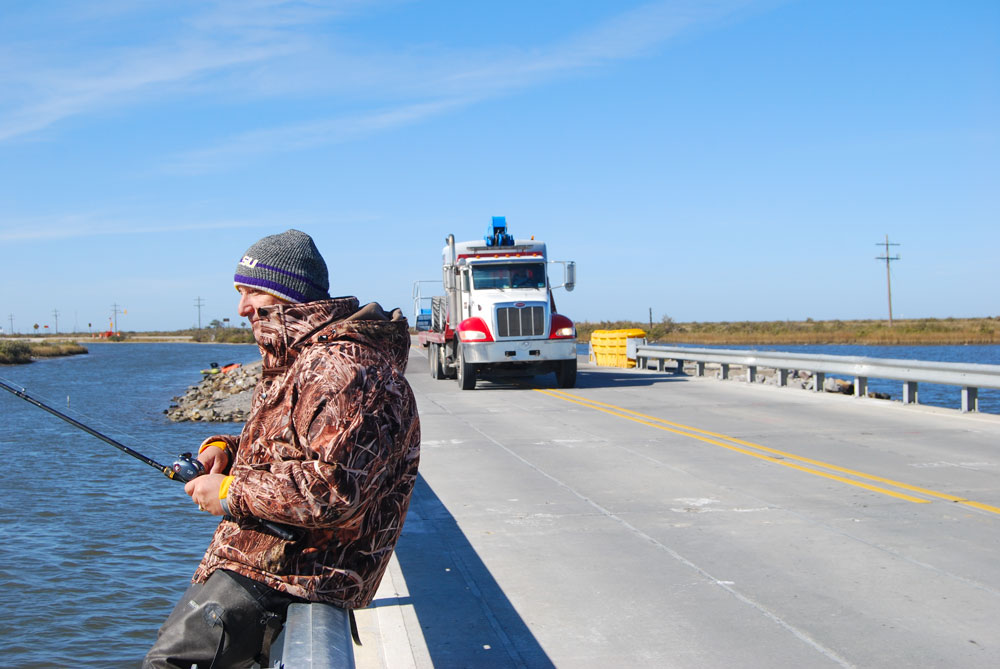 The bridges heading onto Grand Isle are still under construction now, but still can be prime wintertime fishing locations. When he's fishing one, Vidrine prefers an outgoing tide.