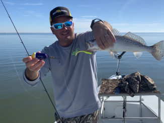 Chas Champagne targeted specks on a very calm Lake Pontchartrain Tuesday, and had success fishing under a Matrix Float.