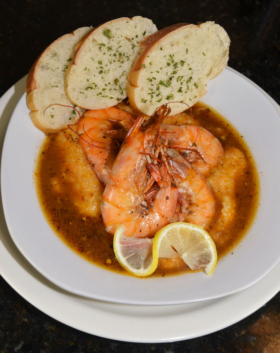 Barbecue shrimp and sweet potato grits offers the contrasting tastes of spicy and sweet.