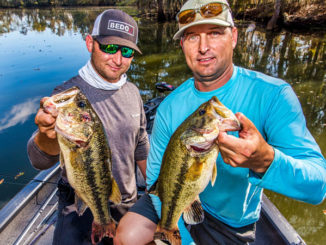 Adam (left) and Kurt Cook head to Bayou Black more often than not this time of year because they know the system holds numbers of bass that make for action-packed trips.