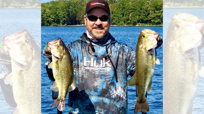 Chunky largemouth bass like these are why Jeff Glover is high on Caney Lake's February bass prospects.