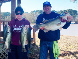Clint Wade shows off his 10.84-pound largemouth, while girlfriend Stacy Spriggs holds up the rest of their five-fish stringer that won a CAST event with 22.95 pounds at Toledo Bend on Jan. 12.