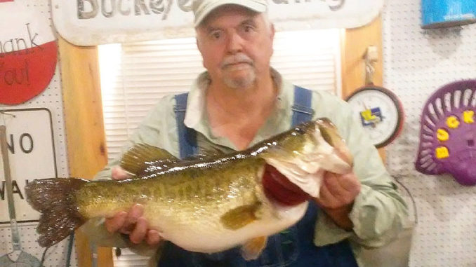 Jim Miers of DeRidder weighed in this 10.96-pounder, the 20th fish entered in the 2018-19 Toledo Bend Lunker Bass Program season, on Feb. 4. The big bass bit a Zoom lizard in sprayed grass color on a treetop in the Mill Creek area.