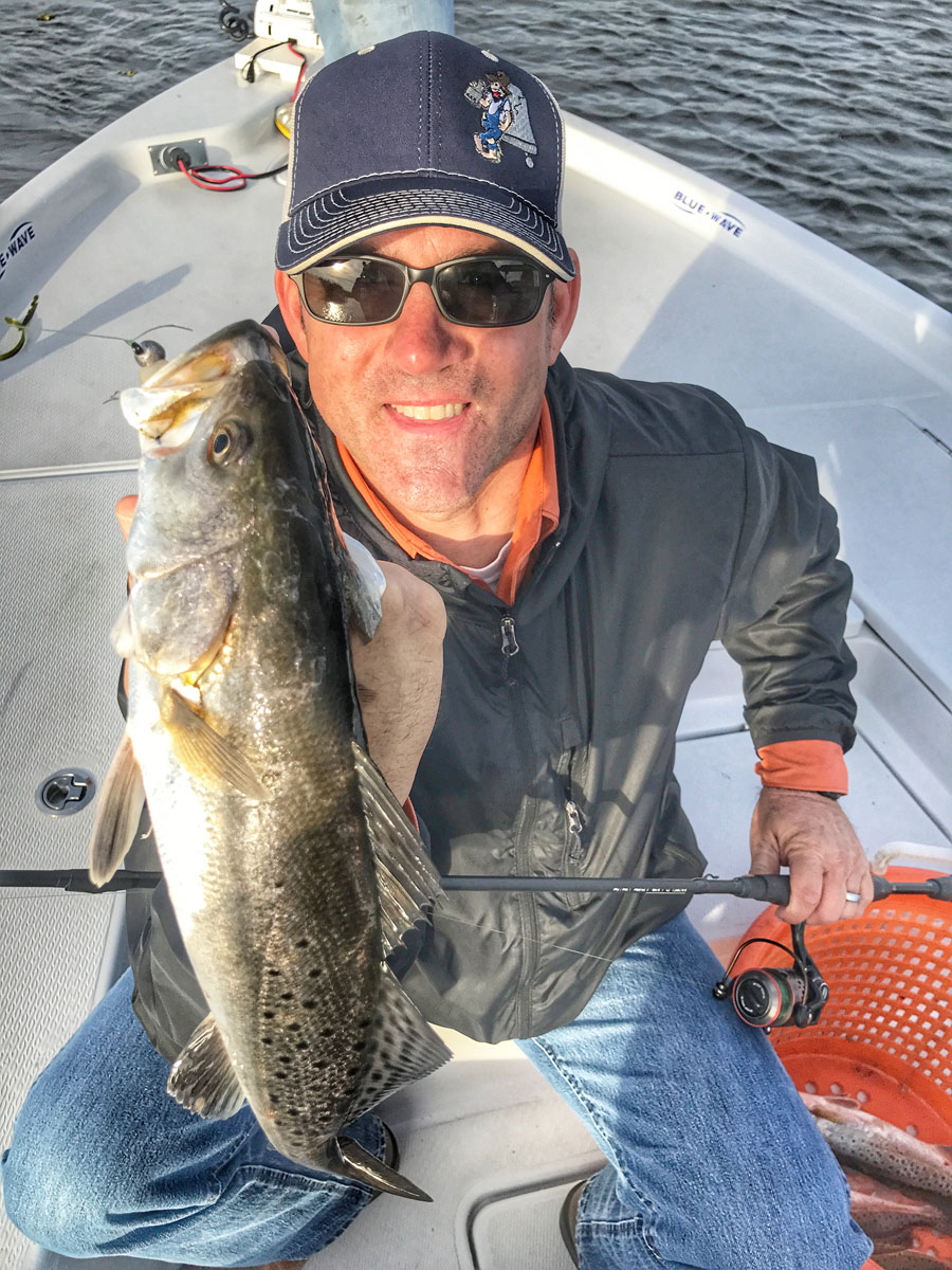Kevin Kearny fished with glow Matrix Shad tight lined to put a hurt on the specks. Pick your days and go fishing when the wind calms down to find fast and furious action.