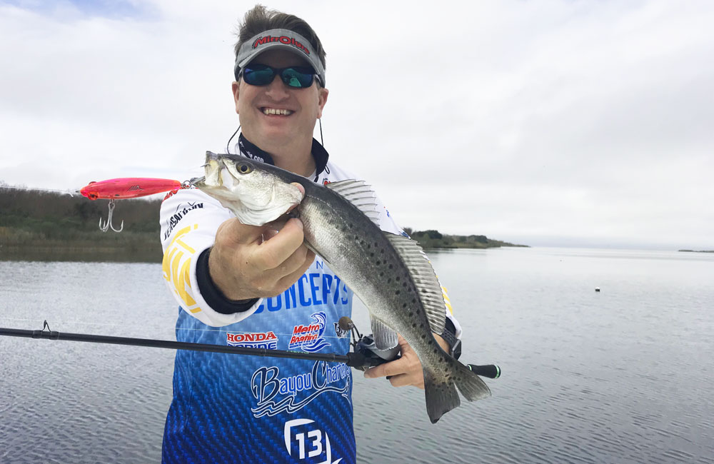 A slow-sinking hardball like a MirrOlure 52R is a great lure for enticing specks to bite, either by trolling or casting and retrieving.
