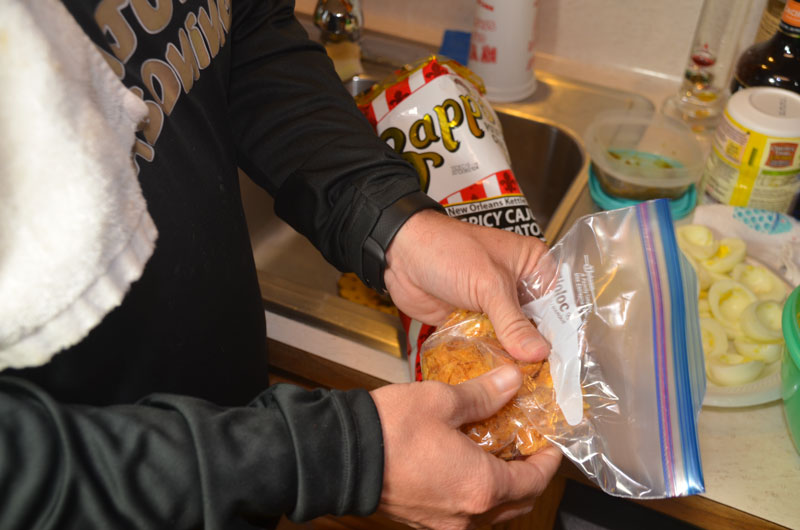 The Zapp's Potato Chips are crushed most quickly and with the least mess in a plastic zipper bag.