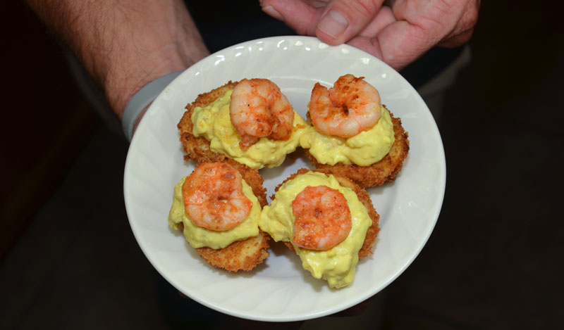 Deep-Fried Deviled Shrimp Eggs are unique in contrasting textures and bold flavor.