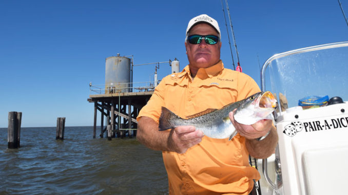 Capt. Herk Bergeron often fishes the Timbalier Rigs to catch trout in the spring.