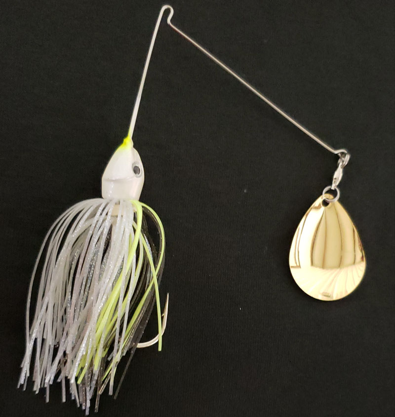 The V&M Big LeBoom spinnerbait in chartreuse-and-white. (Courtesy of V&M)