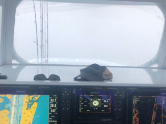 This photo from a foggy morning earlier this spring out of Venice illustrates just how foggy the Mississippi River can get — and why radar is absolutely necessary when heading out in these conditions.