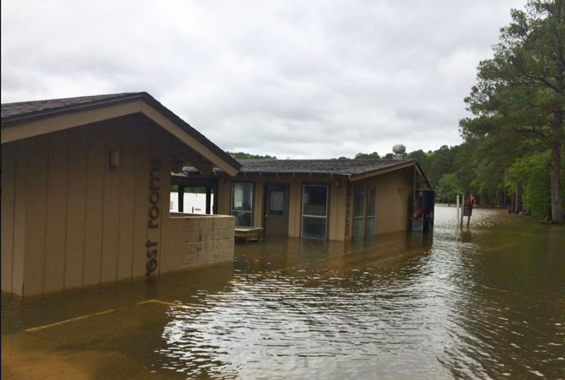 Rest Room facilities and the parking lot at the main boat ramp on Lake Claiborne were underwater in this Wednesday photo.