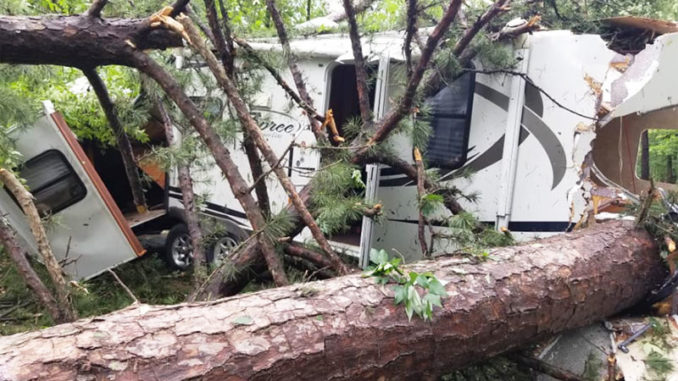 One of the campers that got crushed by the falling trees on Caney Lake. (Photo courtesy of Chantay Ramsey)