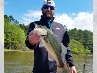 Trey Ledet, out on Toledo Bend with his dad, Eugene Ledet, holds a chunky bass caught while dead sticking a Zoom Super Fluke while fishing with John Dean over Easter weekend.