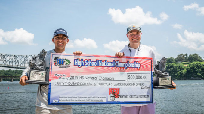 Northlake Christian School's Christopher Capdeboscq and Sam Acosta won the 2019 TBF/FLW High School Fishing National Championship on Pickwick Lake. (Photo by Charles Waldorf)