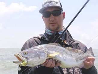 The author landed this nice speckled trout on a Megabass Darksleeper, a Goby-type soft-plastic bait.