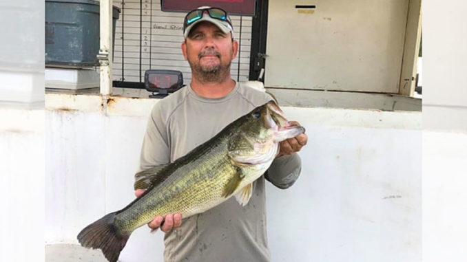 Corey Harris with the 9.14 bass that won the recent Caney Majestic tournament.