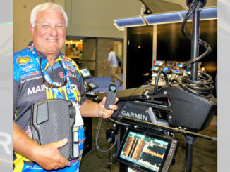 Crappie pro Dan Dannenmueller demonstrates the new Garmin Force trolling motor and a new Garmin scanning sonar unit at the 2019 ICAST show.