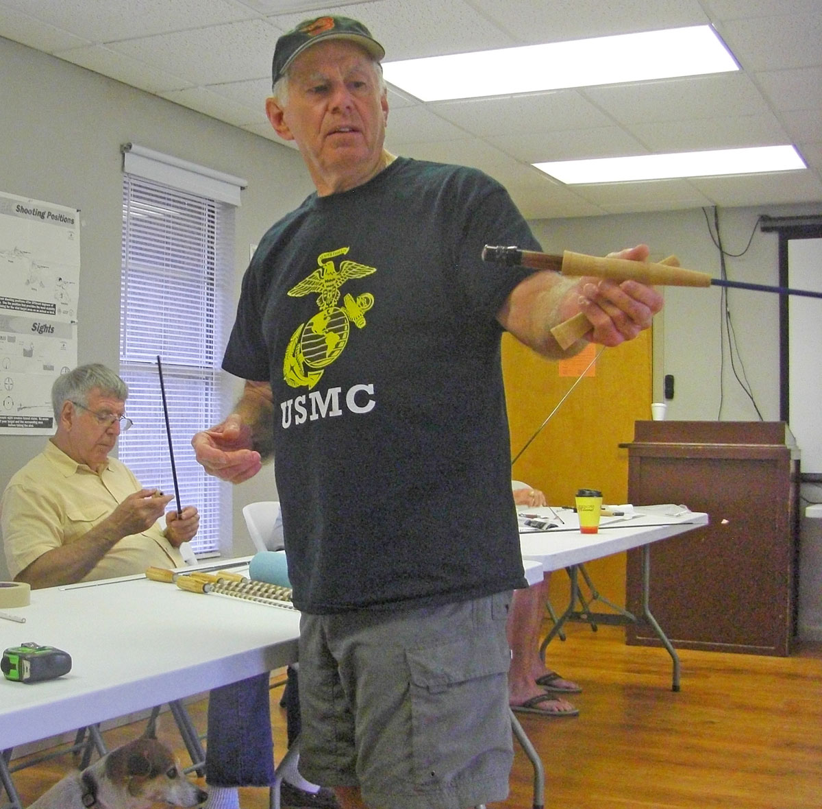 Roger Breedlove has built dozens of fly rods, and teaches rod building classes. Here he examines a rod where the grip and reel seat have just been epoxied onto the blank.