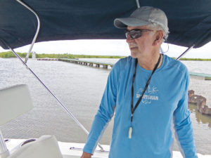 Clay Peltier of New Iberia prepares to leave the Big Dam along Bird Island Bayou in Marsh Island.
