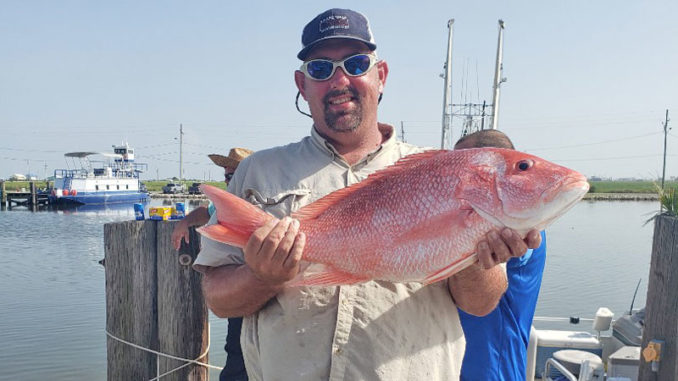 This red snapper was caught out of Grand Isle on July 6, 2019 by Clay Falcon over his bachelor party weekend. He was married July 20.