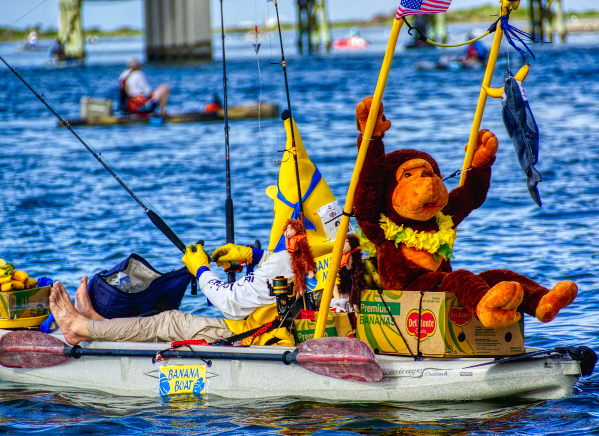 Perennial RTB participant Brad Valtierra dressed up as Banana Man and fished RTB in full costume for the whole event. Brand won the first-ever costume contest and took home a sweet new Wilderness Systems kayak provided by contest sponsor Hancock Whitney Bank.