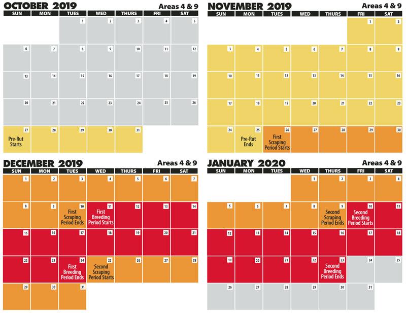 2022 Deer Rut Calendar.2019 2020 Areas 4 9 Rut Calenders Louisiana Sportsman