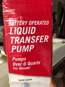 This is the battery operated pump Seither uses to fuel his boat with gas. He purchases the pump for about $10 at Harbor Freight Tools.