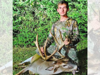 Hunter Greer, 17, of Creola, shows off the big 8-point buck he stuck on Oct. 9 near his home in Grant Parish. The Grant High School senior made a 30-yard shot from a lean-on stand, and his Gold Tip arrow and G5 Havoc broadhead clipped the deer's heart.