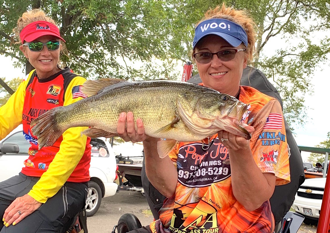 DeAnna Lovvorn caught this Caddo lunker by pitching a shaky head / Senko combo into the cypress tree roots.